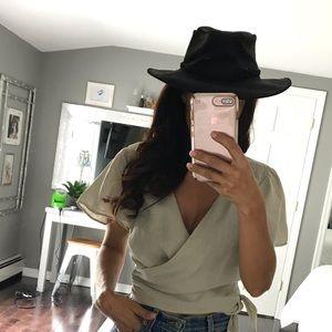 Accessories - Black leather wide brim braided hat medium